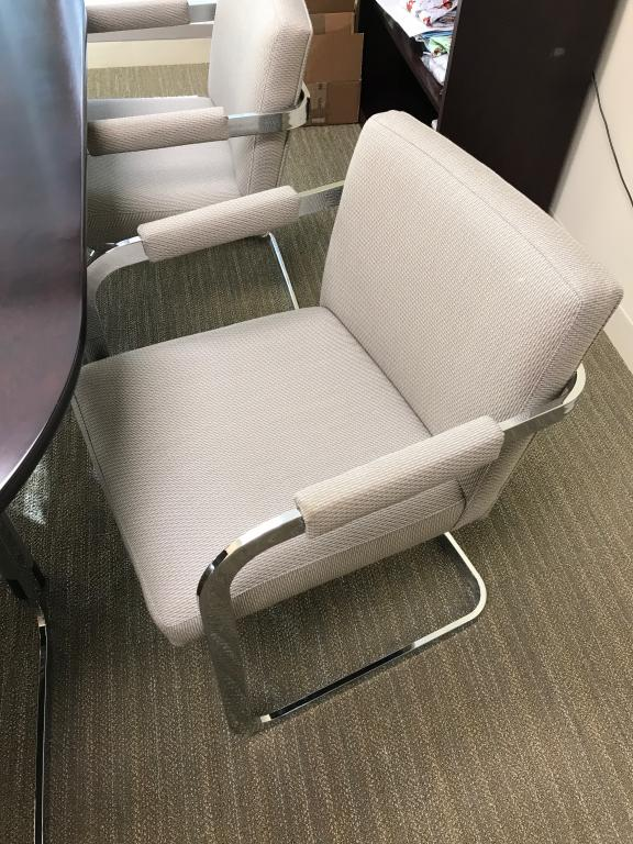 RENTAL ONLY Lt Grey & Chrome side chair - click to see full size photo
