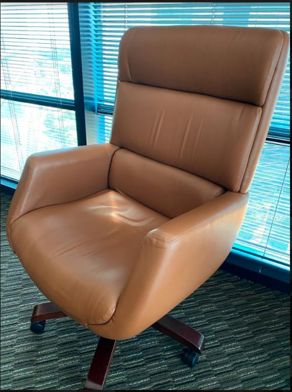 Tan Leather Highback Conference Chairs - click to see full size photo